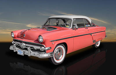 1954 Ford Crestline V8 With See-through Hood Art Print by Frank J Benz