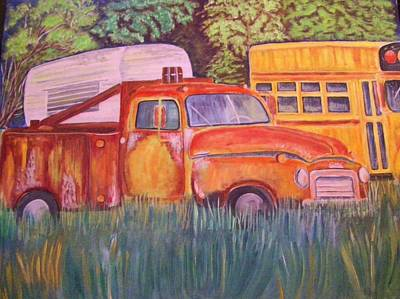 Art Print featuring the painting 1954 Gmc Wrecker Truck by Belinda Lawson