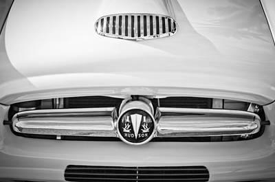 Photograph - 1954 Hudson Grille Emblem -177bw by Jill Reger