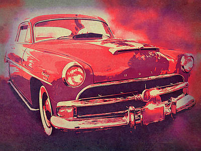 Digital Art - 1954 Hudson Hornet Custom Red by David King
