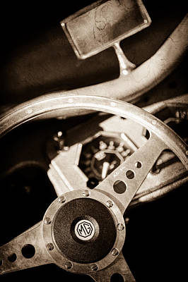 Photograph - 1954 Mg Tf Steering Wheel Emblem -0920s by Jill Reger
