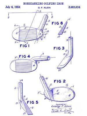 1954 Nonshanking Golf Club Patent Blueprint Print by Jon Neidert