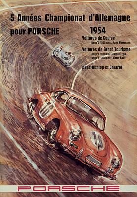 Allemagne Digital Art - 1954 Porsche Championat D'allemagne by Georgia Fowler