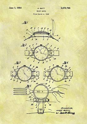 1954 Watch Patent Print by Dan Sproul