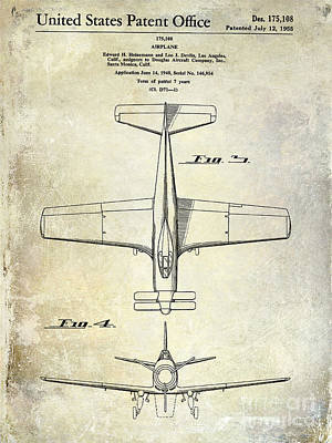 1955  Airplane Patent Drawing 2 Art Print by Jon Neidert