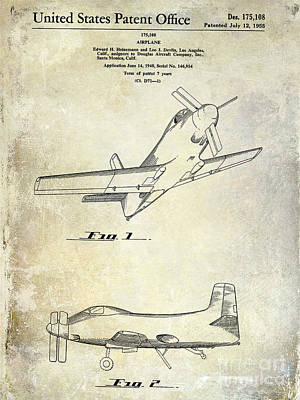 Antique Airplane Photograph - 1955  Airplane Patent Drawing by Jon Neidert