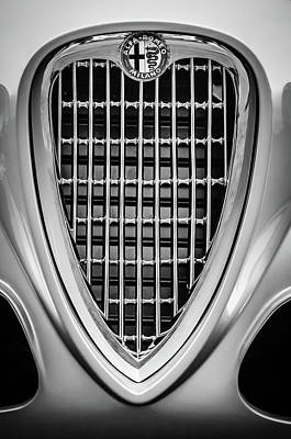 Photograph - 1955 Alfa Romeo Grille Emblem -0564bw2 by Jill Reger