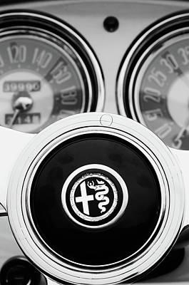 Photograph - 1955 Alfa Romeo Steering Wheel Emblem -2254bw2 by Jill Reger