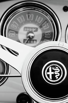 Photograph - 1955 Alfa Romeo Steering Wheel Emblem -2254bw4 by Jill Reger