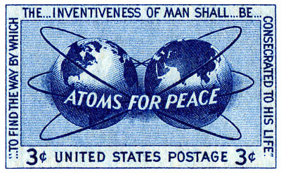 Atom Painting - 1955 Atoms For Peace Stamp by Historic Image