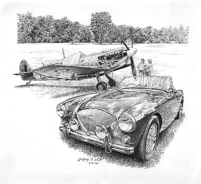 Austin Drawing - 1955 Austin Healey 100-4 Lm by Gregory Whitt