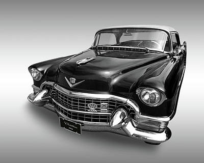 Art Print featuring the photograph 1955 Cadillac Black And White by Gill Billington