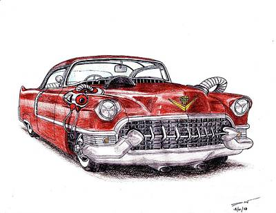 Automotive Art Series Wall Art - Drawing - 1955 Cadillac Series 62 by Dan Poll