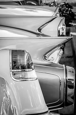 1955 Cadillac Photograph - 1955 Cadillac Taillights - 1960 Cadillac Taillights -0483bw by Jill Reger
