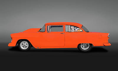 Photograph - 1955 Chevrolet 150 2 Door Post Sedan  -  1955chevrolet150postgry173542 by Frank J Benz