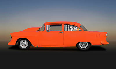 Photograph - 1955 Chevrolet 150 2 Door Post Sedan  -  1955chevy150postdragcar173542 by Frank J Benz