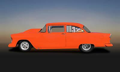 Photograph - 1955 Chevrolet 150 2 Door Post Sedan  -  1955chevy150postdragcar173542 by Frank J Benz