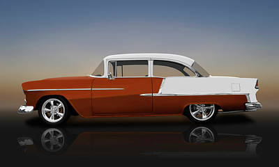 Photograph - 1955 Chevrolet Bel Air 2 Door Post Sedan  -  1955chevrolet2drsedanreflect140570 by Frank J Benz