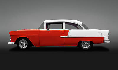 Photograph - 1955 Chevrolet Bel Air 2 Door Post Sedan  -  1955chevroletbelair2doorgry138168 by Frank J Benz