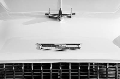 Photograph - 1955 Chevrolet Bel Air Hood Ornament - Emblem -0066bw by Jill Reger