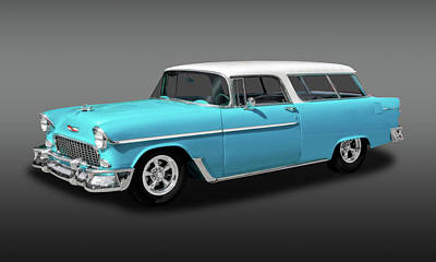 Photograph - 1955 Chevrolet Bel Air Nomad Wagon  -  1955nomadfa9425 by Frank J Benz