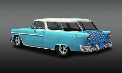 Photograph - 1955 Chevrolet Bel Air Nomad Wagon  -  55chevynomfa9424 by Frank J Benz