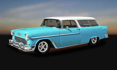 Photograph - 1955 Chevrolet Bel Air Nomad Wagon  -  55chvynomad9425 by Frank J Benz