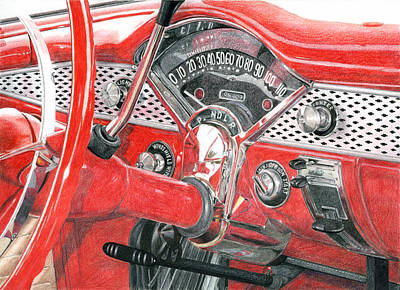 Drawing - 1955 Chevrolet Bel Air by Rob De Vries