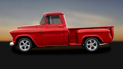 Chevy C10 Photograph - 1955 Chevrolet C-10 Stepside Pickup  -  55chc10trk195 by Frank J Benz