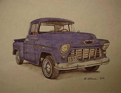 1955 Chevrolet Pickup Truck Art Print by Ed Estrada