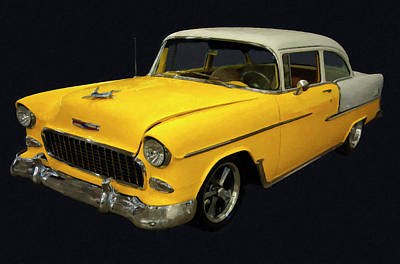 Painting - 1955 Chevy Bel Air Yellow Digital Oil by Chris Flees