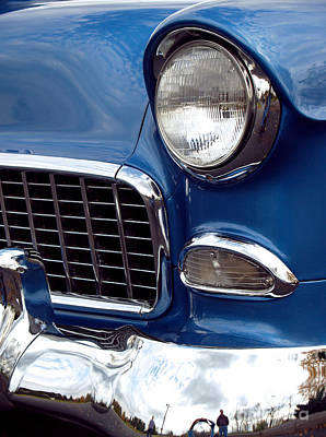 Cars Photograph - 1955 Chevy Front End by Anna Lisa Yoder
