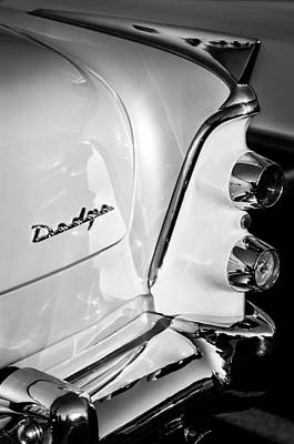 Coronet Photograph - 1955 Dodge Coronet Tail Light Emblem -0050bw by Jill Reger