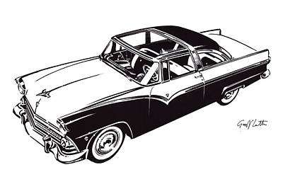 Crown Victoria Painting - Ford Crown Victoria Mono Version From 1955 by Geoff Latter