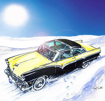 Crown Victoria Painting - 1955 Ford Crown Victoria Skyliner In The Snow  by Geoff Latter