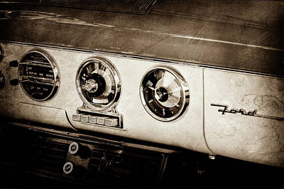 Art Print featuring the photograph 1955 Ford Fairlane Dashboard Emblem -0444s by Jill Reger