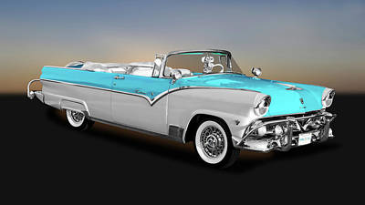 Photograph - 1955 Ford Fairlane Sunliner Convertible  -  1955fdfairsun9796 by Frank J Benz