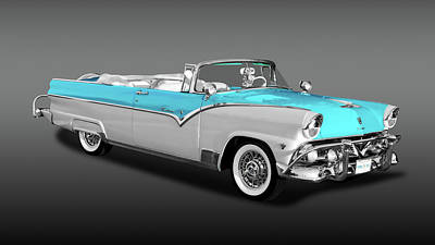 Photograph - 1955 Ford Fairlane Sunliner Convertible  -  55fdfaircvfa9796 by Frank J Benz