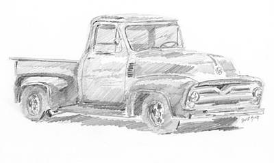 Drawing - 1955 Ford Pickup Sketch by David King