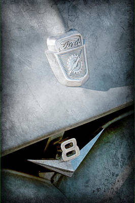 Ford Truck Photograph - 1955 Ford Pickup Truck Emblems -1020ac by Jill Reger
