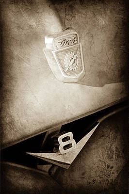 Ford Pickup Photograph - 1955 Ford Pickup Truck Emblems -1020s by Jill Reger