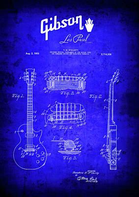 Guitar Player Digital Art - 1955 Gibson Les Paul Guitar Blueprint Patent by Daniel Hagerman
