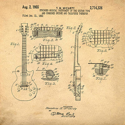 Gibson Photograph - 1955 Gibson Les Paul Patent In Sepia by Bill Cannon