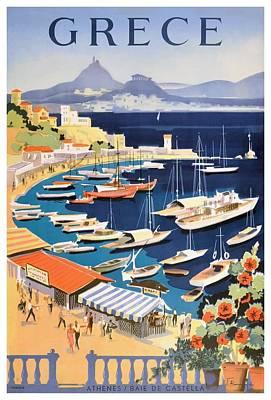 Greece Digital Art - 1955 Greece Athens Bay Of Castella Travel Poster by Retro Graphics