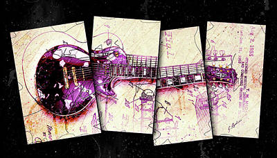 Van Halen Digital Art - 1955 Les Paul Custom Black Beauty V3 by Gary Bodnar