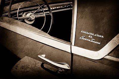 Lincoln Photograph - 1955 Lincoln Indianapolis Boano Coupe Side Emblem - Steering Wheel -0358s by Jill Reger