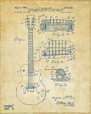Worn Drawing - 1955 Mccarty Gibson Les Paul Guitar Patent Artwork Vintage by Nikki Marie Smith