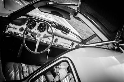 Mercedes 300sl Gullwing Photograph - 1955 Mercedes-benz 300sl Gullwing Steering Wheel - Race Car -0329bw by Jill Reger