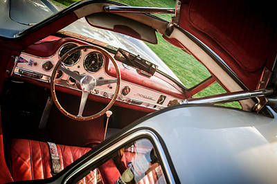 Mercedes 300sl Gullwing Photograph - 1955 Mercedes-benz 300sl Gullwing Steering Wheel - Race Car -0329c by Jill Reger