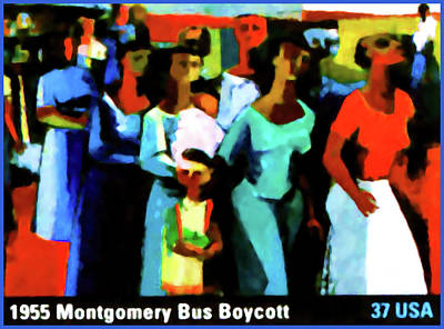 United States Postage Painting - 1955 Montgomery Bus Boycott by Lanjee Chee
